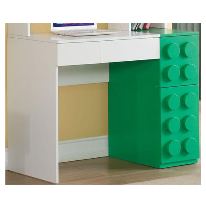 HomeRoots Office Playground Computer Desk With Two Drawers And Two Doors, White & Green
