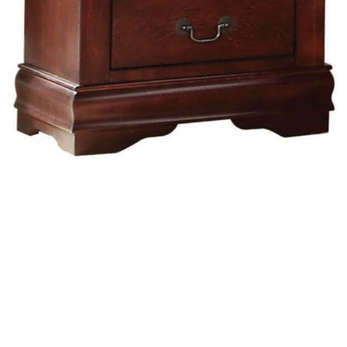 HomeRoots Office Wooden Nightstand with Two Drawers, Cherry Brown