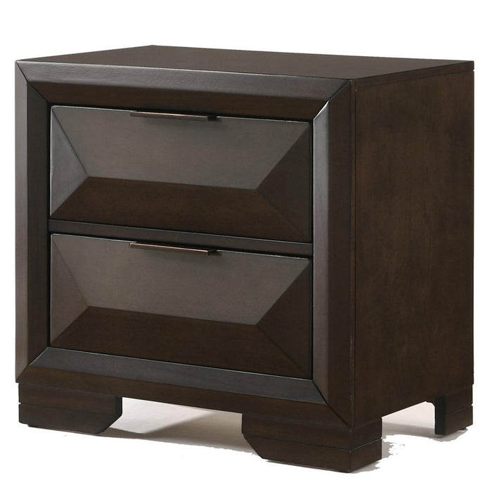 HomeRoots Office Wooden Nightstand with Dramatic Bevel Drawer Fronts, Espresso Brown