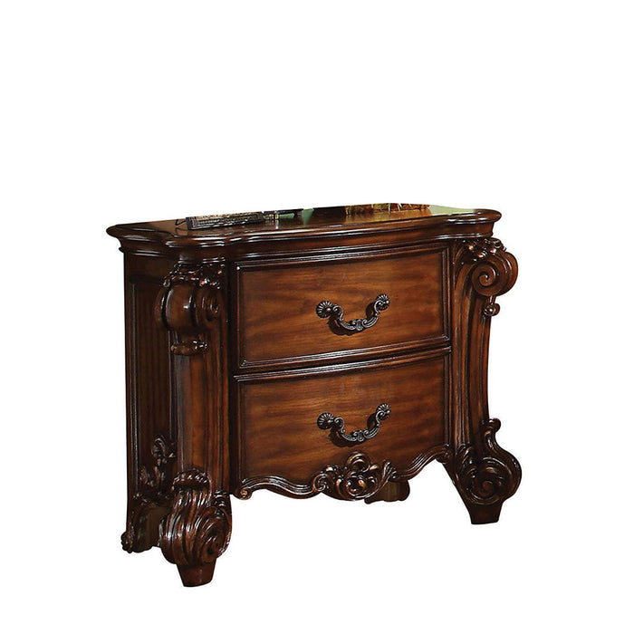 HomeRoots Office Traditional Style Wooden Nightstand with Two Drawers, Cherry Brown