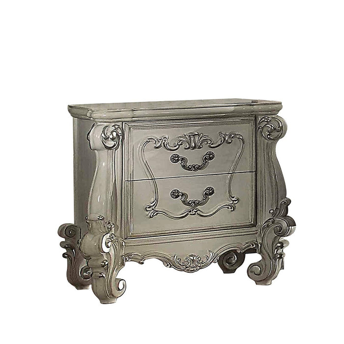 HomeRoots Office Two Drawers Wooden Nightstand with Carved Details, Bone White