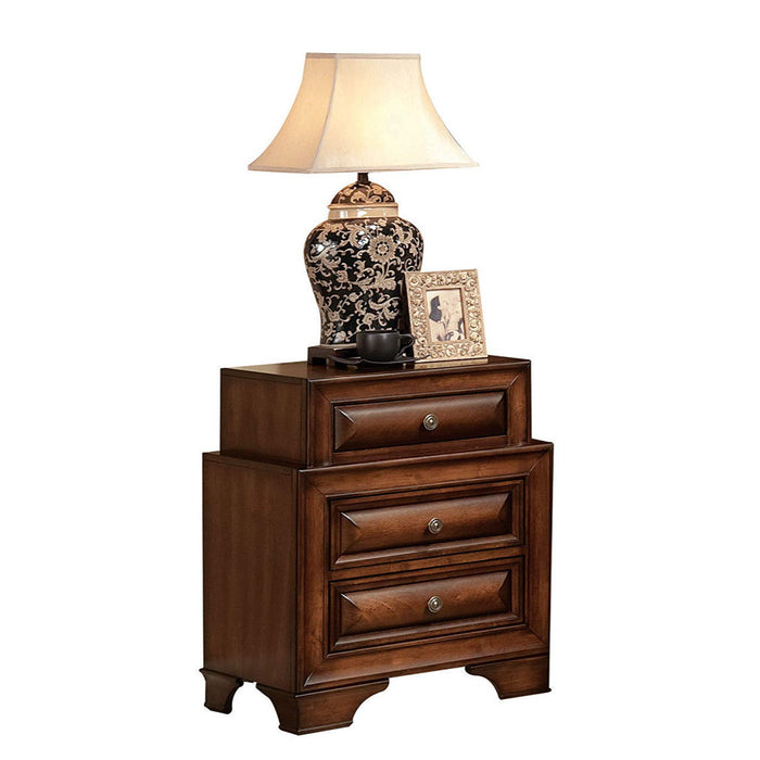 HomeRoots Office Wooden Nightstand with Three Drawers, Cherry Brown