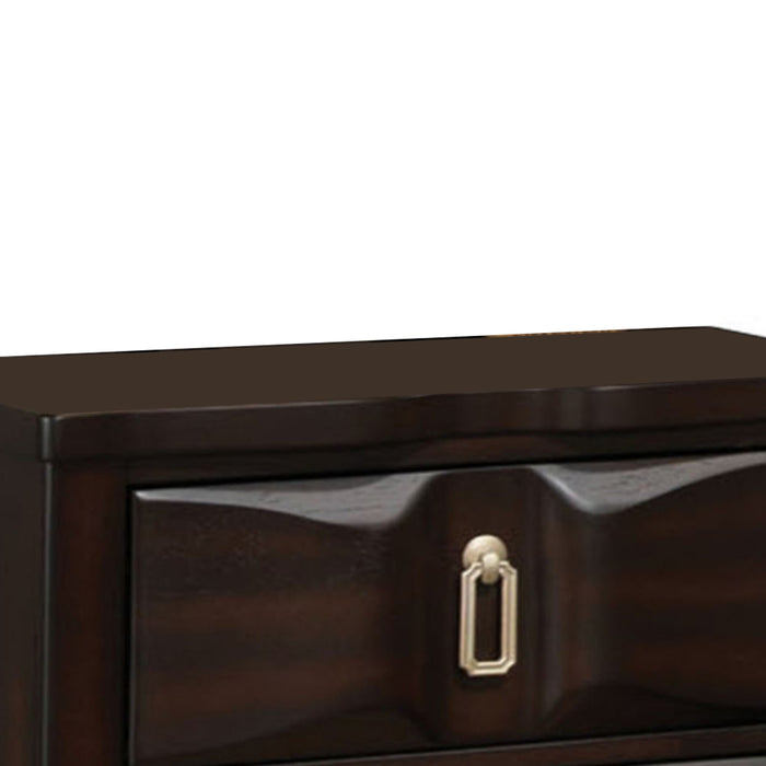 HomeRoots Office Transitional Style Wood Nightstand with 2 Drawers, Espresso Brown