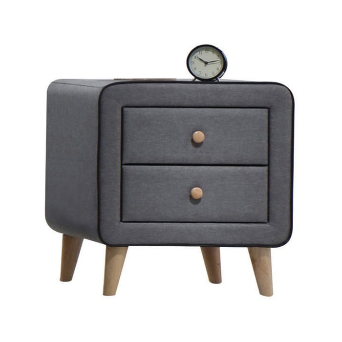 HomeRoots Office Transitional Style Wood and Fabric Upholstery Nightstand with 2 Drawers, Gray