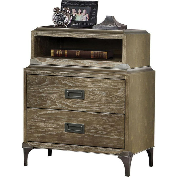 HomeRoots Office Transitional Style Wood and Metal Nightstand with 2 Drawers, Oak Brown