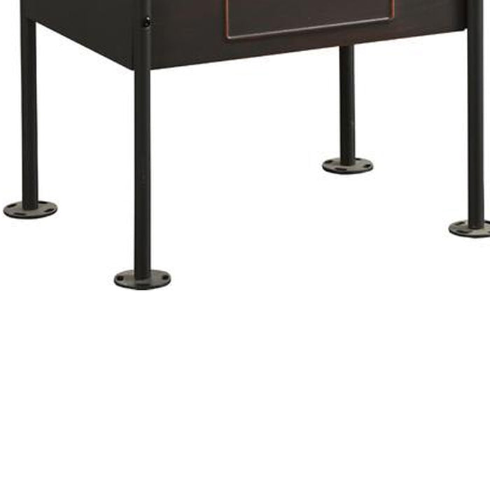 HomeRoots Office Industrial Pipe Detailed Nightstand With One Drawer And One Shelf, Antique Oak and Sandy Grey