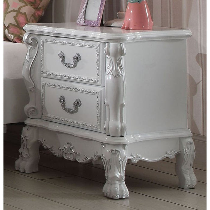 HomeRoots Office Wooden Two Drawer Nightstand With Motif Engraved Feet, Antique White