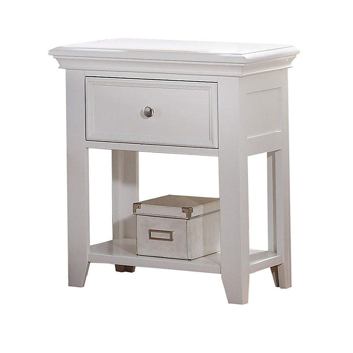 HomeRoots Office Wooden One Drawer And One Bottom Shelf Nightstand, White