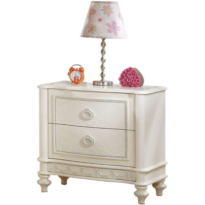 HomeRoots Office Wooden Two Drawer Nightstand With Floral Carved Trim Accent And Bun Feet, Ivory