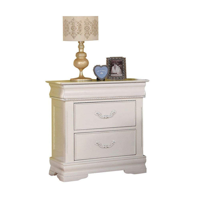 HomeRoots Office Wooden Three Drawer Nightstand With One Hidden Top Drawer, White