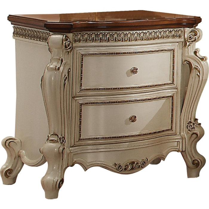 HomeRoots Office Two Drawer Nightstand With Cabriole Legs, Antique Pearl & Cherry Oak