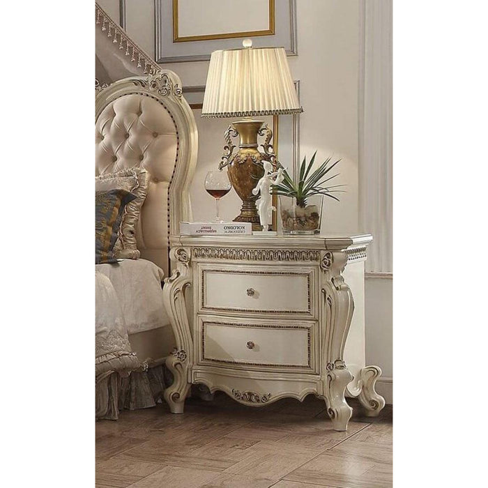 HomeRoots Office Two Drawer Nightstand With Carved Details And Cabriole Legs, Antique Pearl