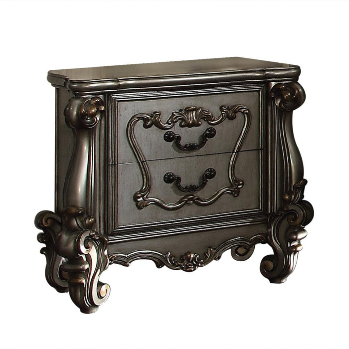 HomeRoots Office Two Drawer Nightstand With Oversized Scrolled Legs In Antique Platinum Finish
