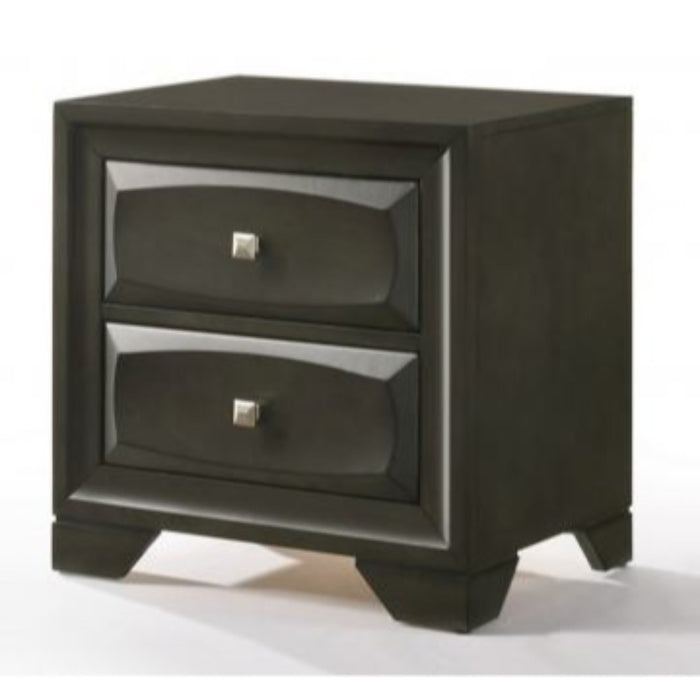 HomeRoots Office Two Drawer Nightstand With Brushed Nickel Accent And Chamfered Legs, Antique Gray