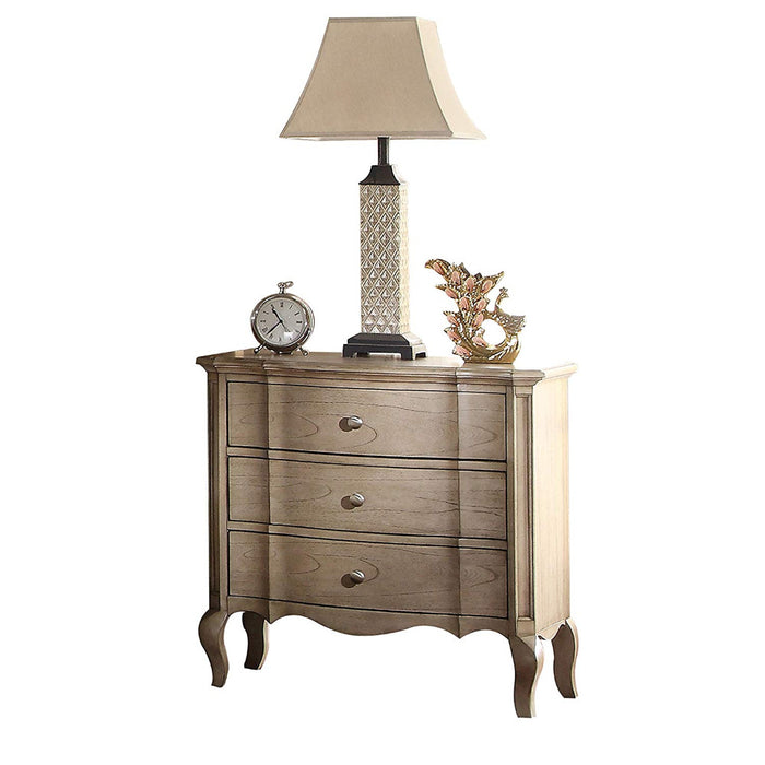 HomeRoots Office Three Drawer Nightstand With Scalloped Bottom Edge & Cabriole Leg, Antique Taupe