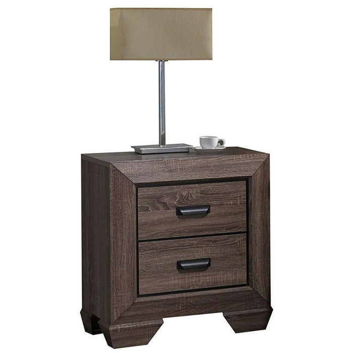HomeRoots Office Two Drawer Nightstand With Scalloped Feet In Weathered Gray Grain Finish