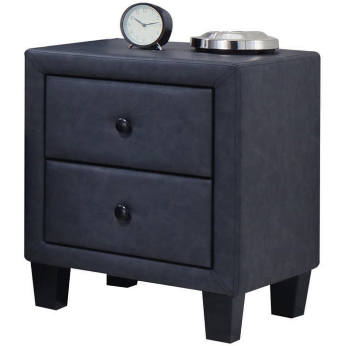 HomeRoots Office Polyurethane Upholstered Two Drawer Nightstand With Wooden Tapered Leg, Gray