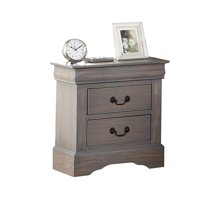 HomeRoots Office Wooden Two Drawer Nightstand In Antique Gray Finish