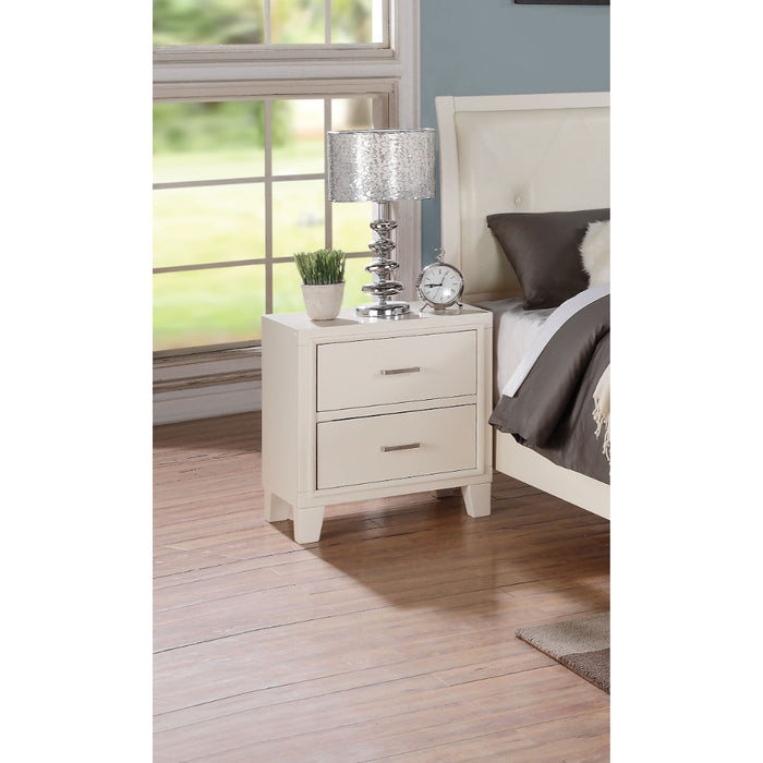 HomeRoots Office Contemporary Style Wood and Metal Nightstand with 2 Drawers, White