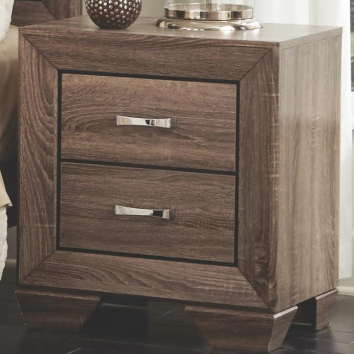 HomeRoots Office Transitional Style Wooden Nightstand with Two Drawers and Tapered Feet, Brown