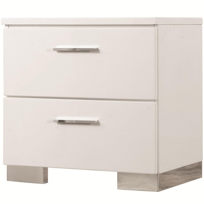 HomeRoots Office Wooden Nightstand with 2 Drawers and Chrome Metal Legs, White