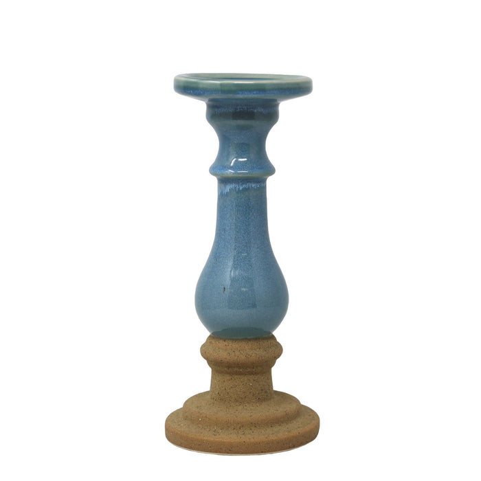 HomeRoots Pedestal Style Ceramic Candle Holder with Speckle Texture, Large, Blue and Brown