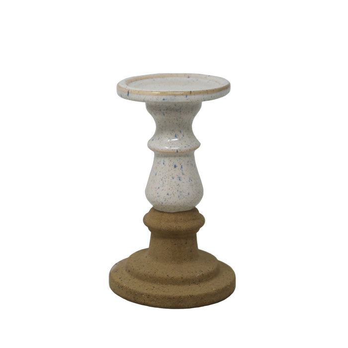 HomeRoots Pedestal Style Ceramic Candle Holder with Speckle Texture, Small, White and Beige