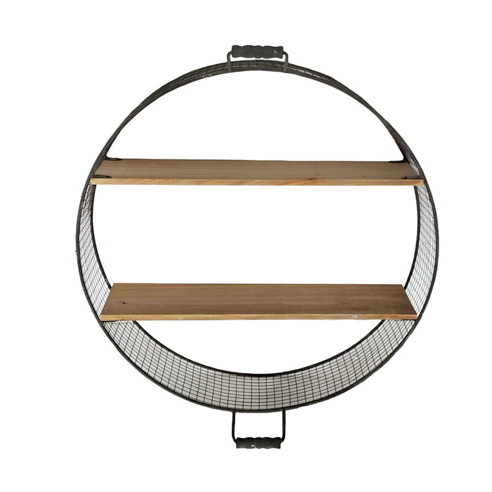 HomeRoots Office Iron Wire Round Wall Shelf with Two Fir Wood Shelves and Two Handles, Black and Brown