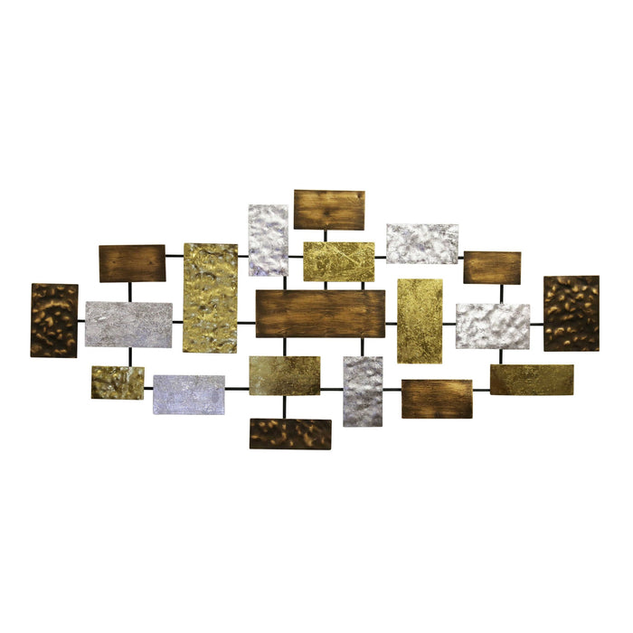 HomeRoots Rectangle Cluster Metal Wall decor, Multicolor