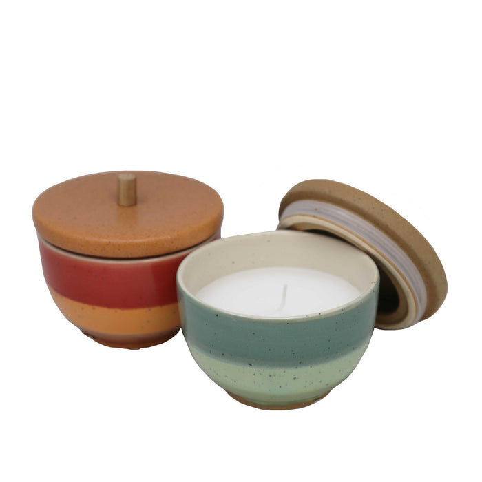HomeRoots Ceramic Outdoor Citronella Candles in Bowls, Assortment of Two, Multicolor