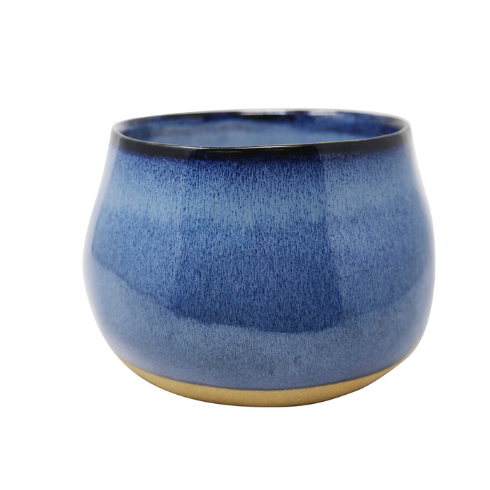 HomeRoots Ceramic Outdoor Citronella Candle in Bowls, Blue and Gold