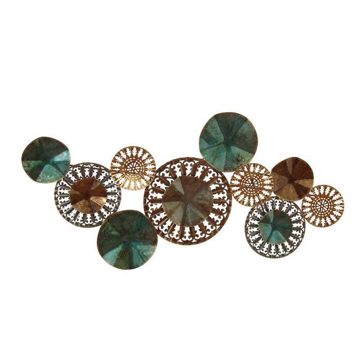 HomeRoots Clusters of Circles Metal Wall Decor with Decorative Details, Multicolor