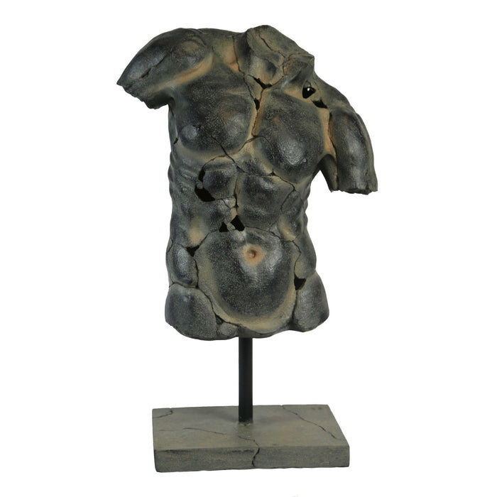 HomeRoots Polyresin Cracked Torso Sculpture On Rectangular Base, Washed Brown