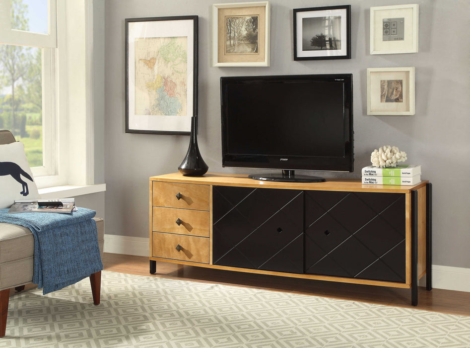 HomeRoots Office Rectangular Three Drawers Wooden TV Console with Sliding Door Storage, Natural Brown and Black