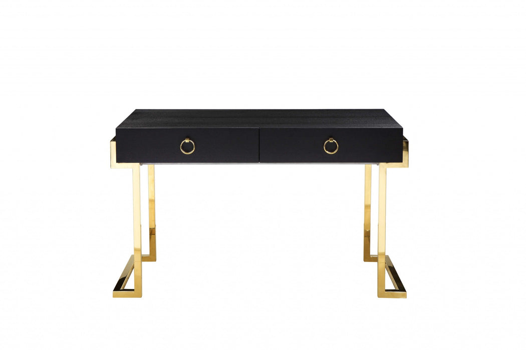 HomeRoots Office Wooden Two Drawers Writing Desk with Stainless Steel Legs, Black and Gold