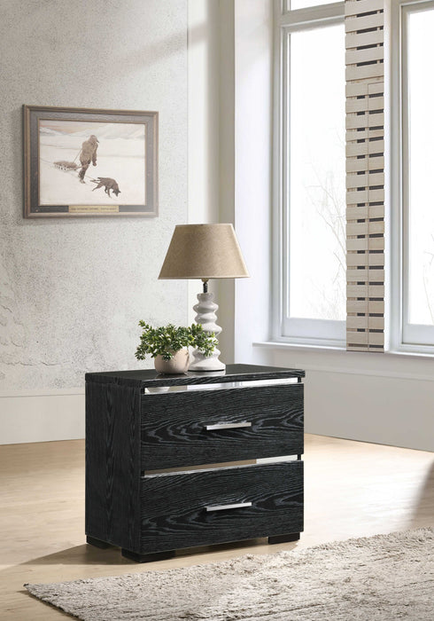 HomeRoots Office Two Drawers Wooden Nightstand with Bracket Legs, Black