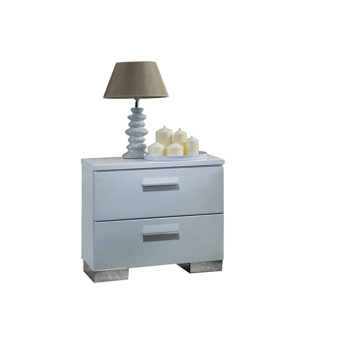 HomeRoots Office Contemporary Style Wooden Nightstand with Two Drawers and Metal Bracket Legs , White