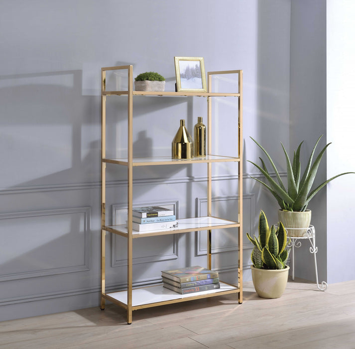 HomeRoots Office Tubular Metal Framed Bookshelf with Wood Inserted Open Shelves, White and Gold