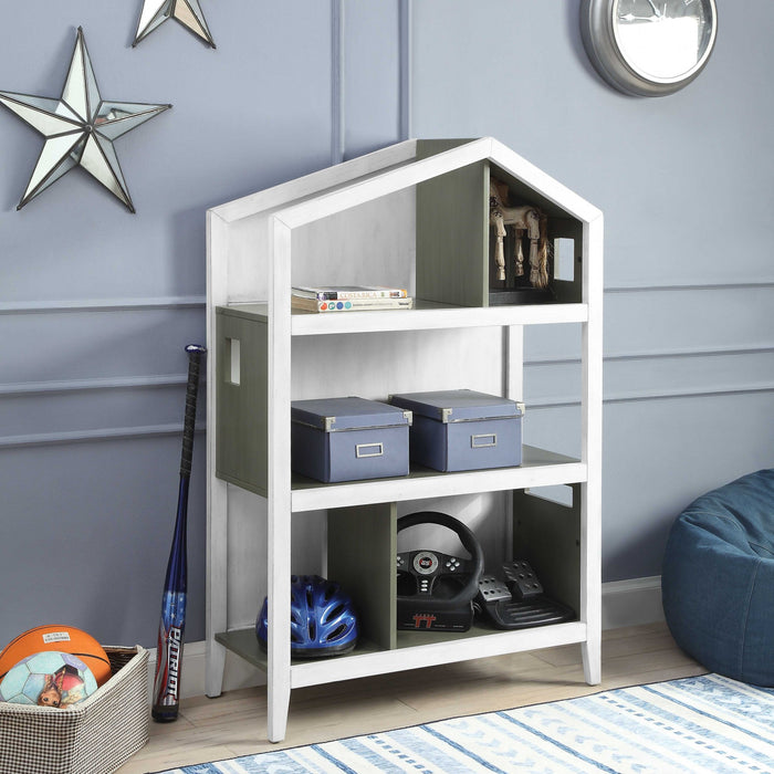 HomeRoots Office Wooden Kids Bookcase with Five Open Shelves, Gray and White