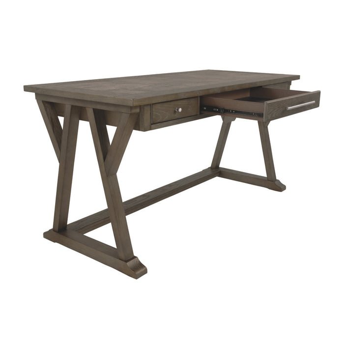 HomeRoots Office Three Drawer Wooden Desk with Cross Brace Stretcher and Faux Bluestone Top, Gray