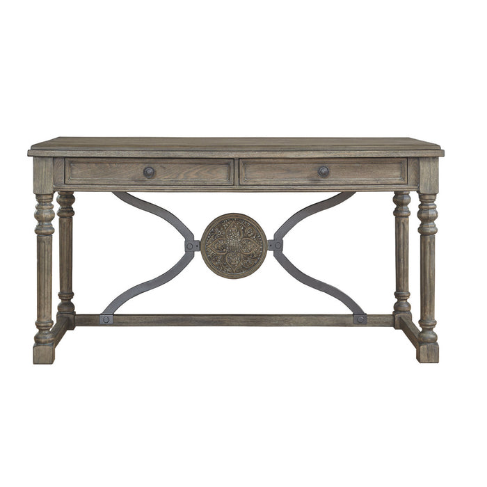 HomeRoots Office Two Drawers Wooden Desk with Aesthetic Medallion Metal Accent, Gray and Brown