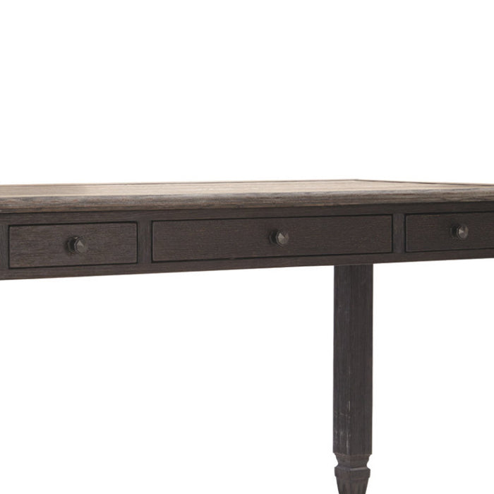 HomeRoots Office Two Tone Wooden Desk with Turned Legs and Three Drawer, Brown and Gray