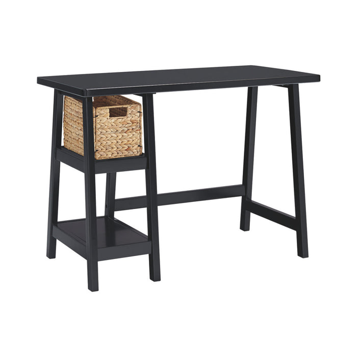 HomeRoots Office Distressed Wooden Desk with Two Display Shelves and Trestle Base, Small, Black