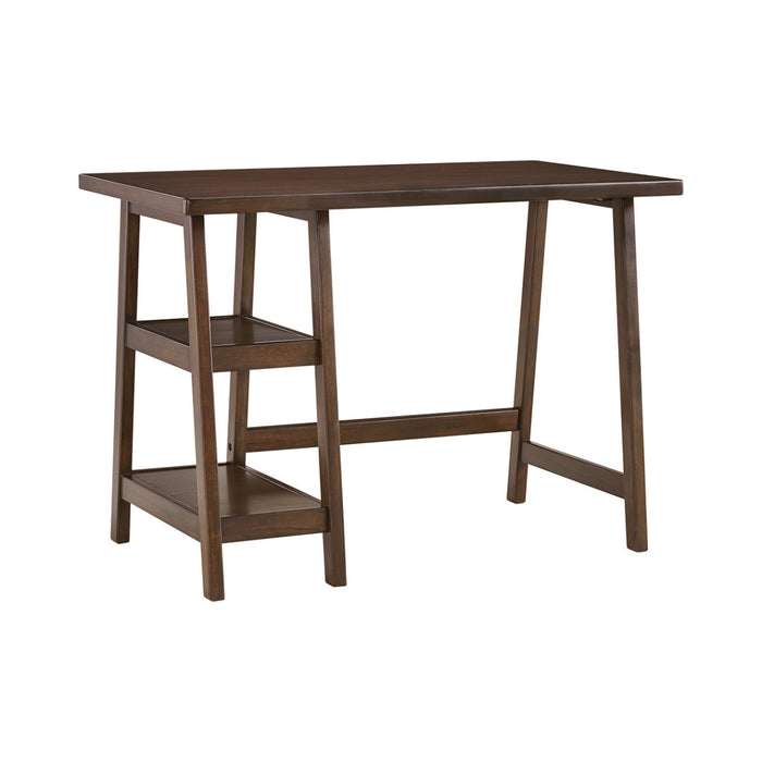 HomeRoots Office Wooden Desk with Two Side Stacked Shelves, Small, Brown