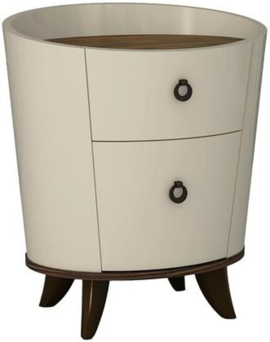 HomeRoots Office Cylindrical Shaped Wooden Nightstand with Rosewood Top and Two Drawers, Brown and Cream