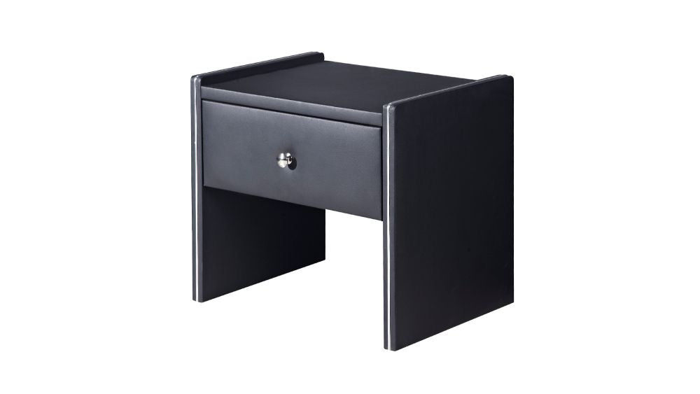 HomeRoots Office Leather Upholstered Wooden Nightstand with One Drawer, Black
