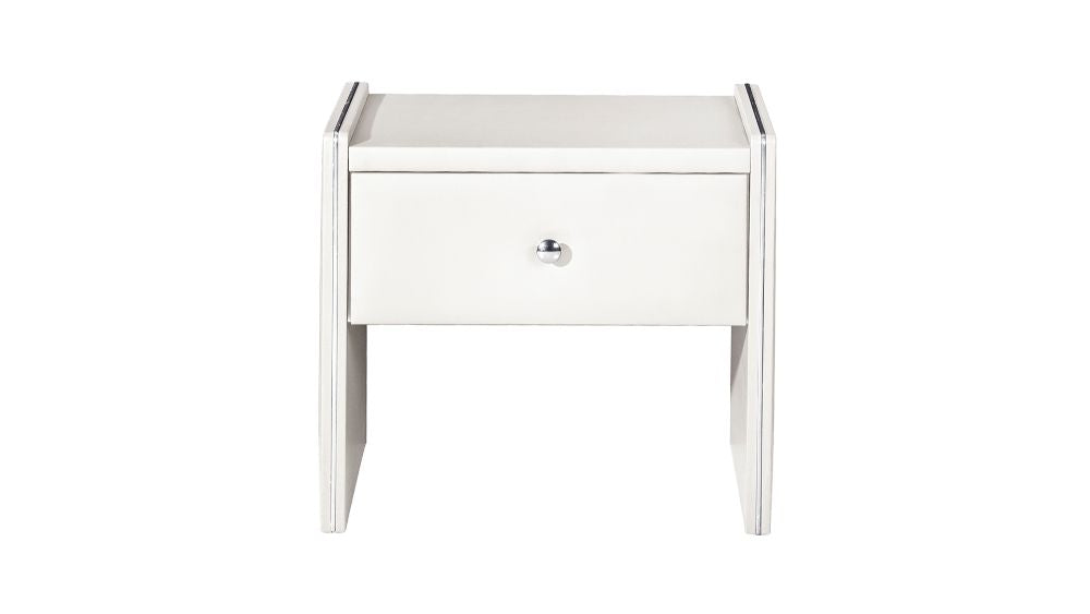 HomeRoots Office Leather Upholstered Wooden Nightstand with One Drawer, White