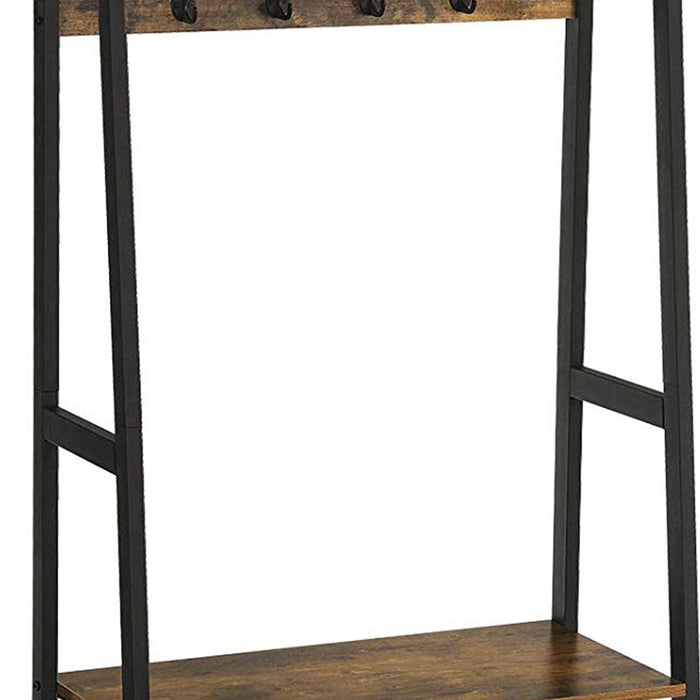 HomeRoots Office Iron Framed Coat Rack with Two Storage Shelves and Hanging Rail, Brown and Black