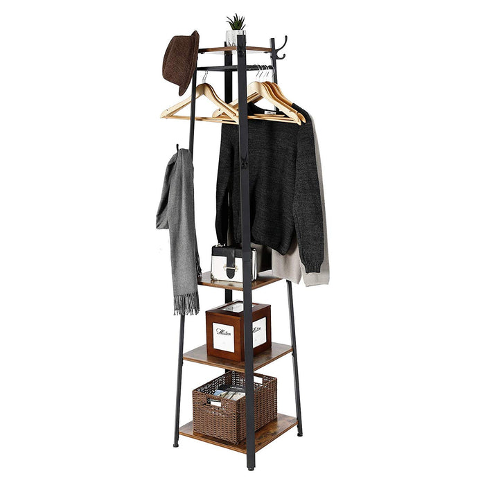 HomeRoots Office Metal Framed Ladder Style Coat Rack with Three Wooden Shelves, Brown and Black