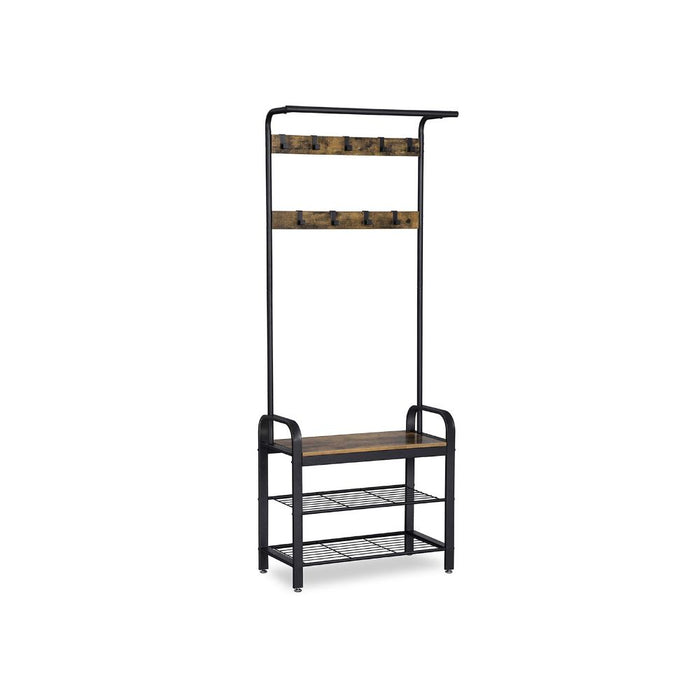 HomeRoots Office Metal and Wood Framed Coat Rack with Multiple Hooks and Storage Shelves, Brown and Black